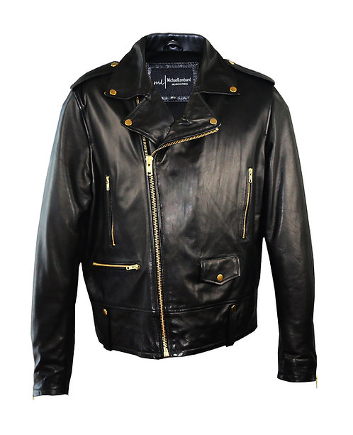 HART-Black Moto Calfskin Leather Jacket with Gold Hardware