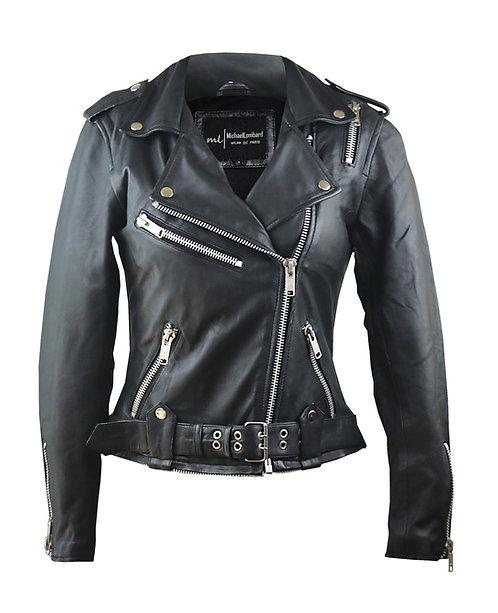 JAY- Black Sheepskin Moto Leather Jacket