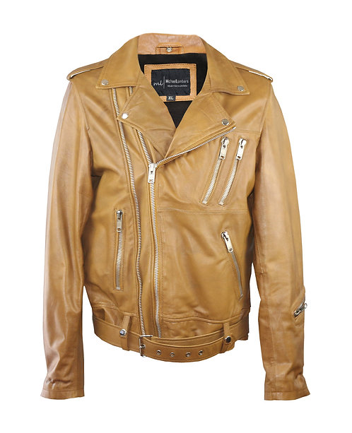 MAXWELL- Caramel Double Zipper Moto Sheepskin Leather Jacket