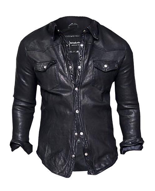 Black Slim Fit Western Biker Sheepskin Leather Shirt