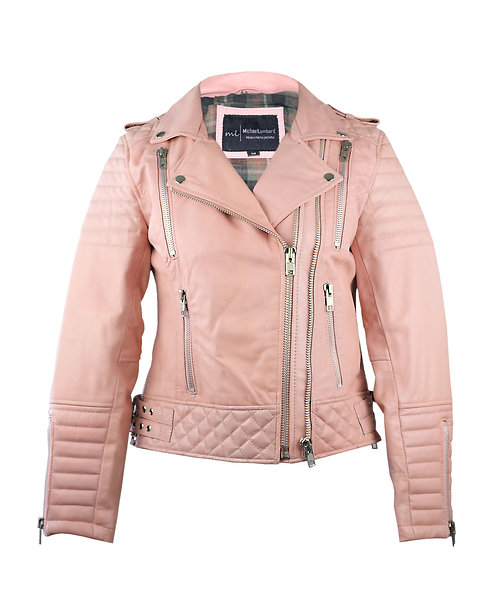 CANDY- Pink Quilted Moto Lambskin Leather Jacket