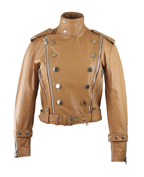 CINDI- Caramel Moto Double Breasted Calfskin Leather Jacket