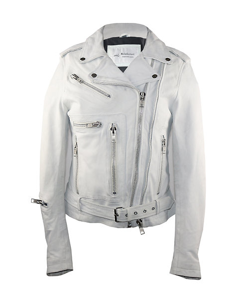 SAJE - White Moto Sheepskin Leather Jacket with Belt