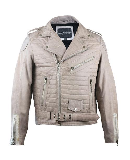 BOND- Light Grey Quilted Moto Sheepskin Leather Jacket
