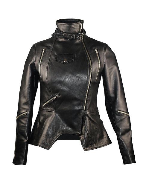 SASHA- Black Peplum Moto Calfskin Leather Jacket