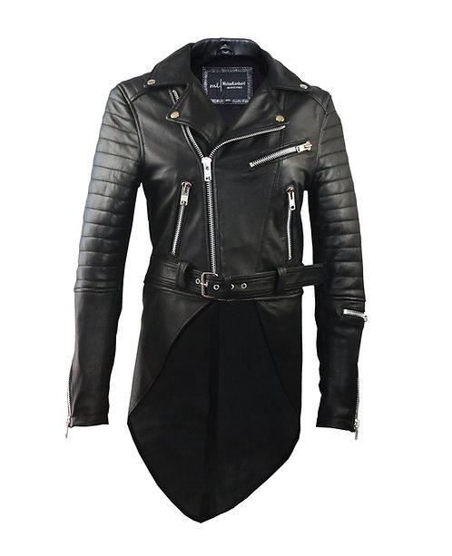 TRINITY-Black Quilted Moto Sheepskin Leather Jacket with Tuxedo Back