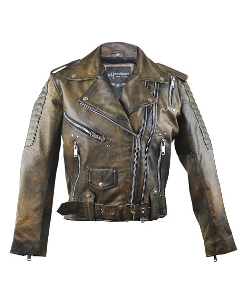 MISFIT- Waxed Brown Studded Quilted Screen Printed Sheepskin Moto Leather Jacket