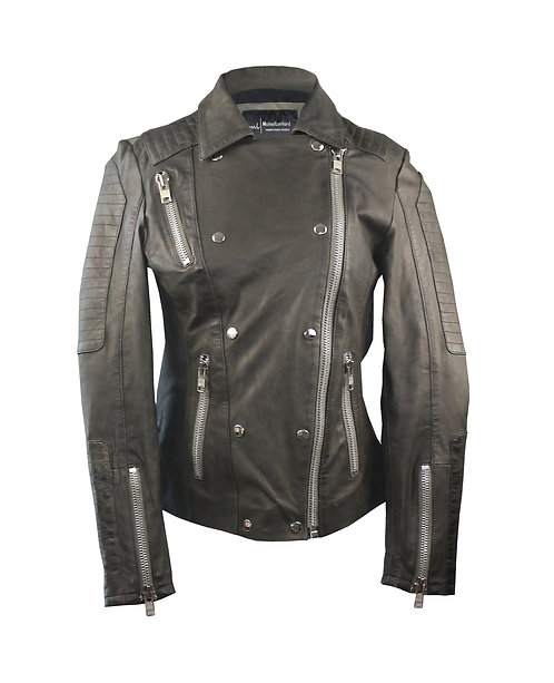 NOVA-Military Green Quilted Moto Sheepskin Leather Jacket