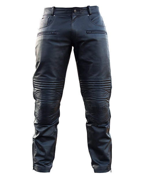 BONO- Black Studded Quilted Sheepskin Moto Leather Pants