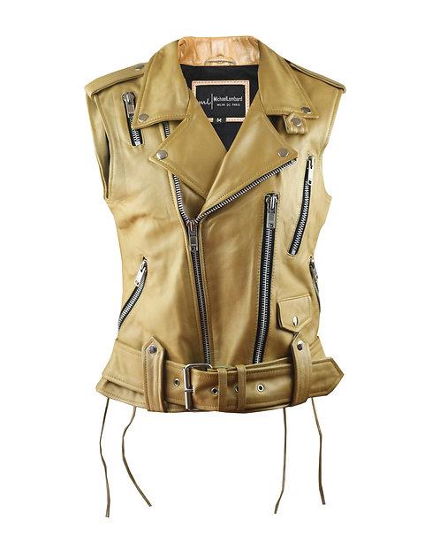 GOLDIE-Gold Sheepskin Moto Leather Vest