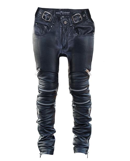 Scissorhands- Black Quilted Sheepskin Zipper Skinny Moto Leather Jeans