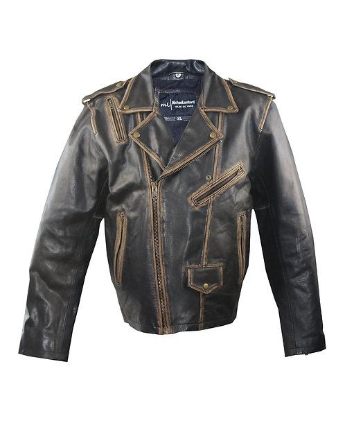 MAX- Black Distressed Sheepskin Moto Leather Jacket