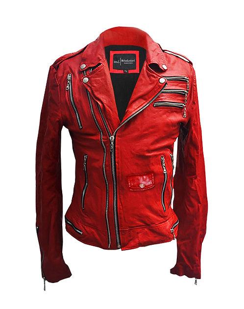 Edward Zipperhands- Red Sheepskin Moto Leather Jacket