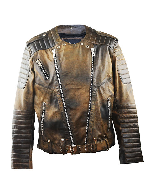 BOUGIE- Brown Waxed Quilted Screen Printed Sheepskin Moto Leather Jacket