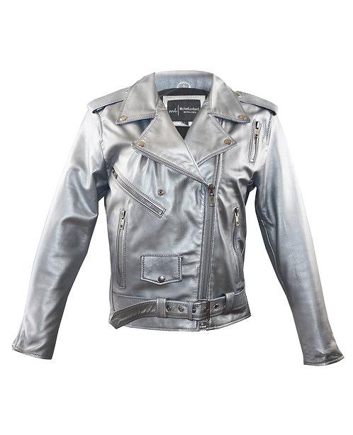 GAGA- Silver Moto Sheepskin Leather Jacket with Belt