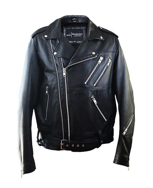 MAXWELL-Black Double Zipper Moto Sheepskin Leather Jacket with Belt