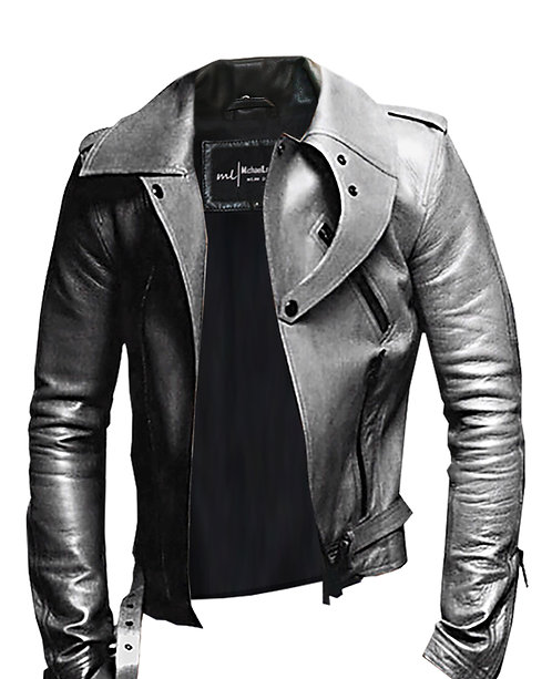 BLADE- Grey Modern Collar Moto Sheepskin Leather Jacket