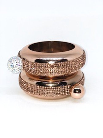 All Rhinestone Rose Gold Bracelet Flask