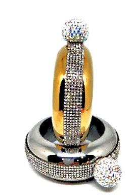Yellow Gold Bracelet Flask Rhinestone Lid Only