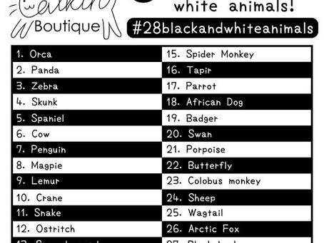#28blackandwhiteanimals