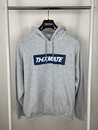 """THXMATE Upcycling """"Denim Logo"""" Hoodie Grau"""
