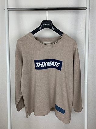 "THXMATE Upcycling ""Denim Logo"" Sweater Hellbeige"