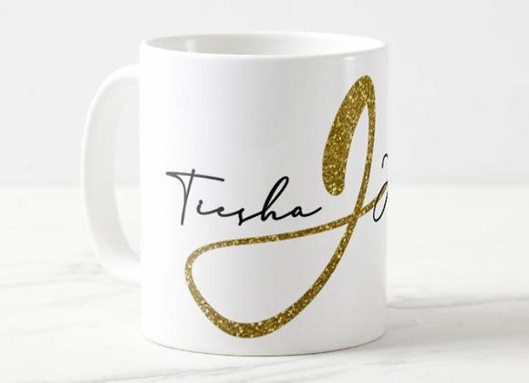 Fancy Name & Initial 11 oz Mug. (Gold)