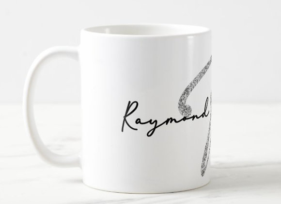 Fancy Name & Initial 11 oz Mug. (Silver).
