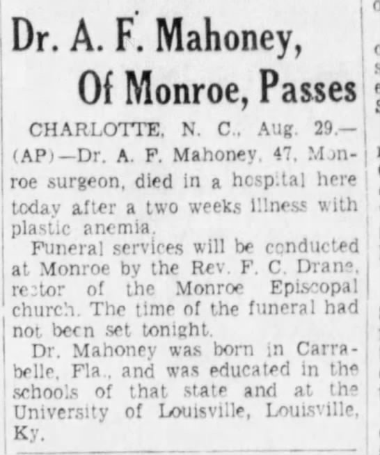 A. F. Mahoney Death -