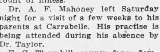 Dr. A. F. Mahoney Parents at Carrabelle -