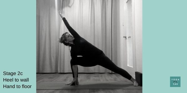 Utthita Parsvakonasana with heel support and hand to floor.