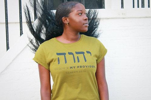 Genesis 22:14 - Women's Rolled Sleeve T-Shirt - YHWH-HEBREW