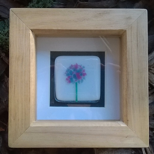 Mini 'Dandelion' Fused glass art tile.