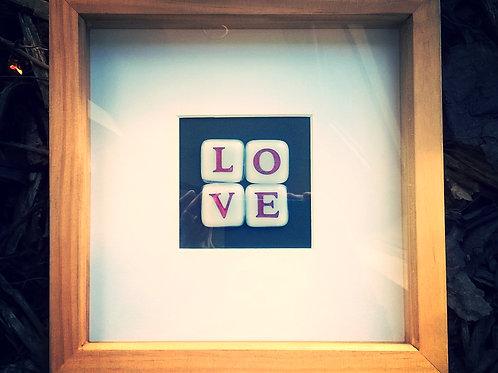 'LOVE' Fused glass tiles in box frame