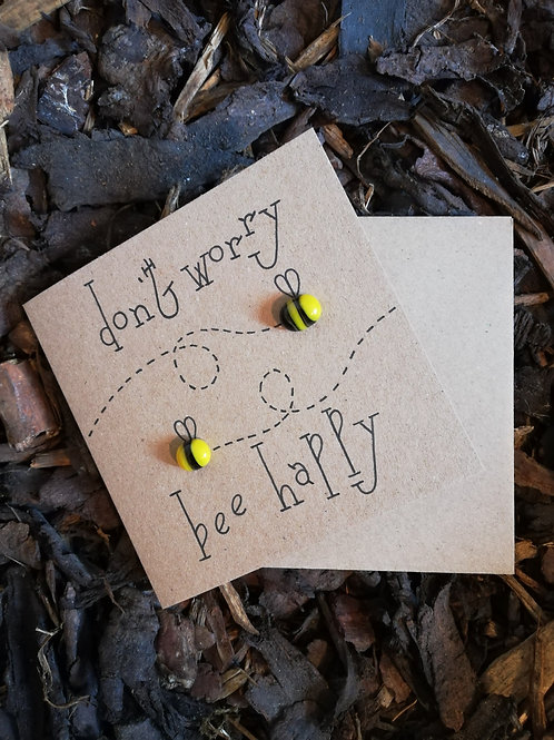 'don't worry bee happy' greetings card