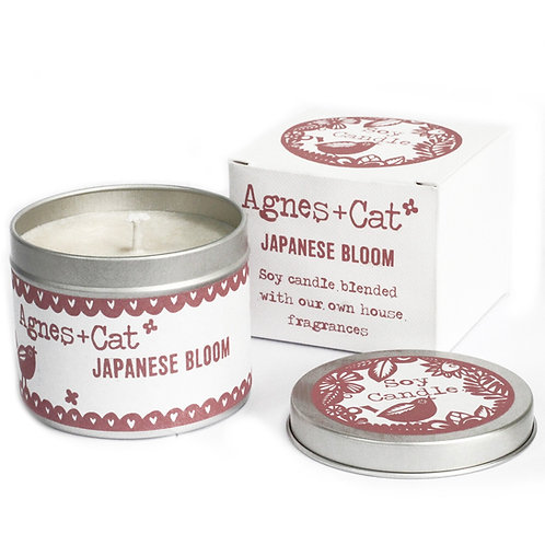 Japanese Bloom Soy Wax Tin Candle - Agnes + Cat