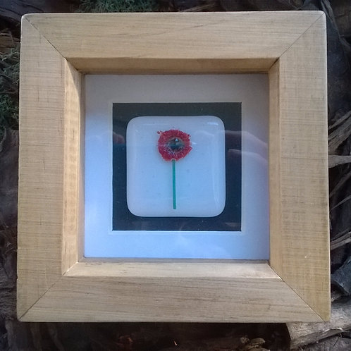 Mini 'Poppy' Fused glass art tile