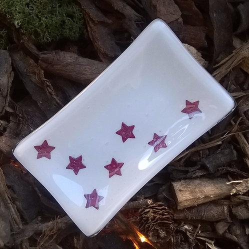 4eva Stars - fused glass soap / ring dish