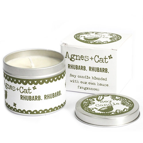 Rhubarb Rhubarb Soy Wax Tin Candle - Agnes + Cat