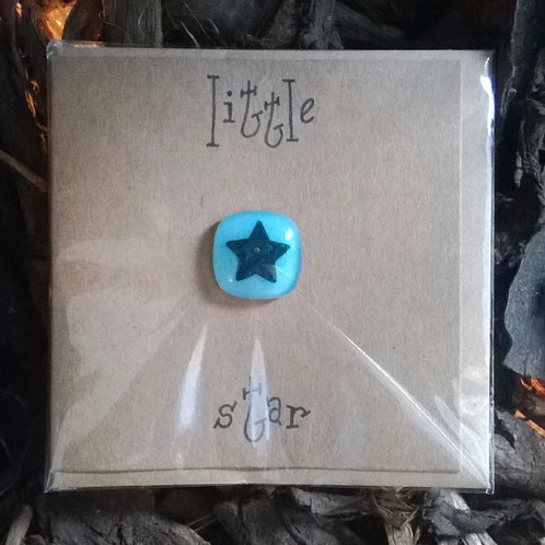 4eva little star greetings card little star handwritten on front face of card removable 4eva fused glass copper keepsake left blank inside for your own message envelope included m4hsunfo