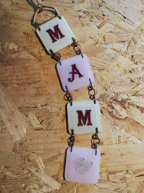 4Eva Embers - Fused Glass Chain Letters (three letters with embers tile)