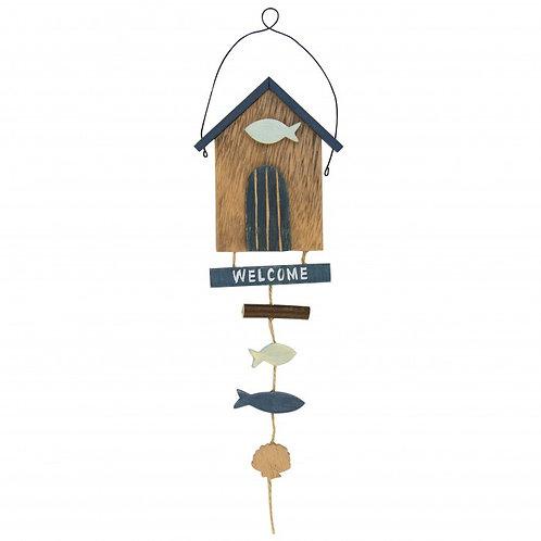 """Cute Beach Hut Hanger """"Welcome"""""""