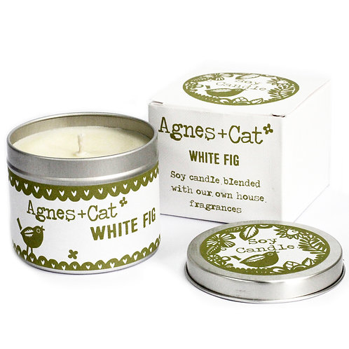 White Fig Soy Wax Tin Candle - Agnes + Cat