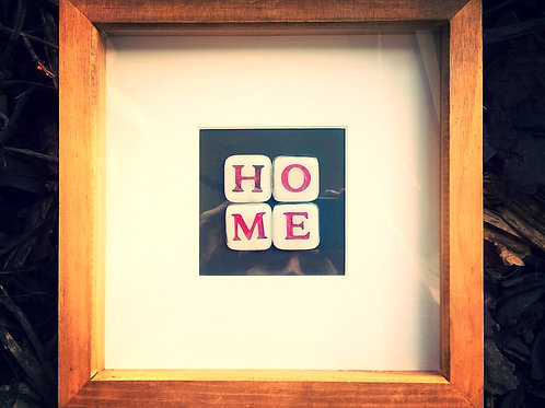 'HOME' Fused glass tiles in box frame