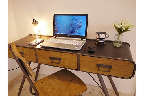 Retro Industrial Desk with Chair
