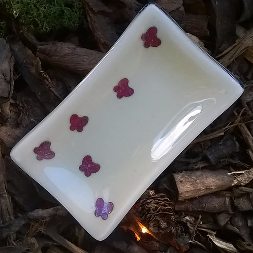 4eva butterflies - fused glass soap / ring dish