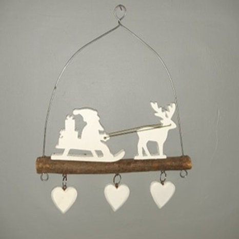 Father Christmas With Reindeer Hanging Decoration
