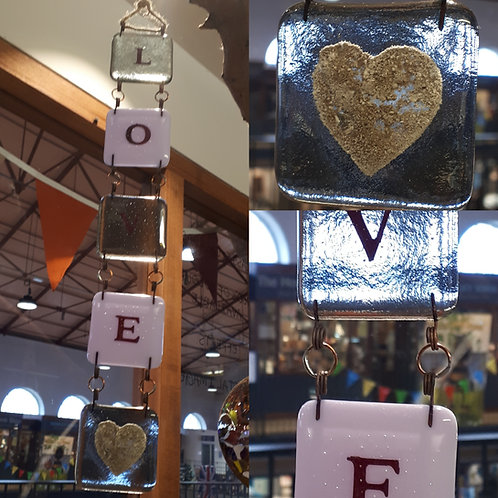 Fused Glass Chain Letters (four letters plus ashes tile)