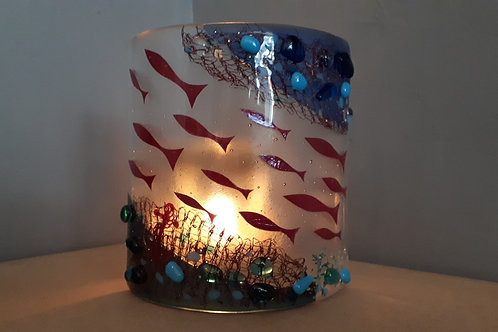 Fused Glass Curve Swimming Up Stream