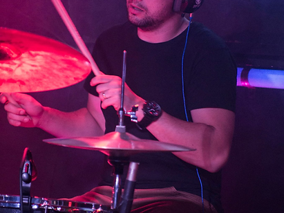 Dan on the drums - drum lessons available!